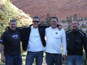 Bobby is the second to the left. We are flanked in Zion by our tour compadres Chop Chop and Vapor
