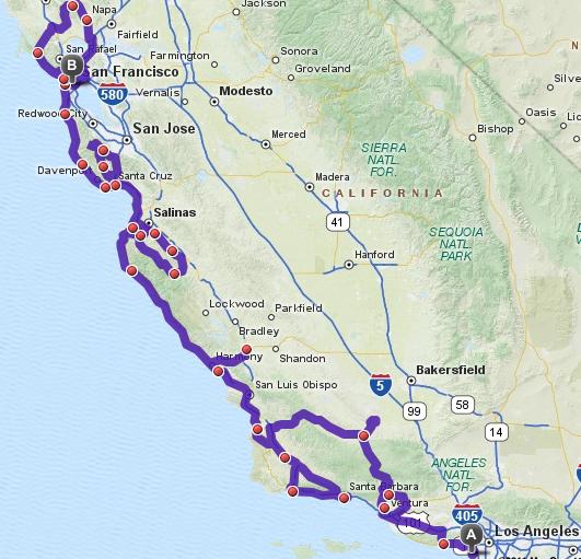 Map San Francisco to Los Angeles Los Angeles to San Francisco